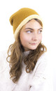 Knitted Fluffy Plush Inside Beanie in Camel by ANGELEYE