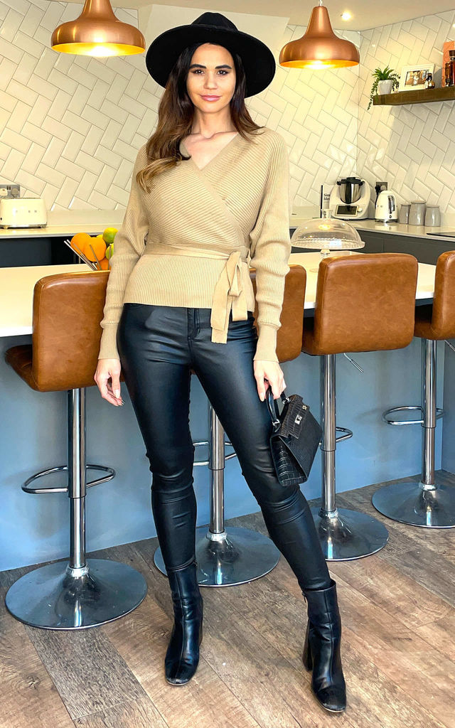Winter Batwing Wrap Long Sleeve Peplum Jumper In Camel by Blue Vanilla