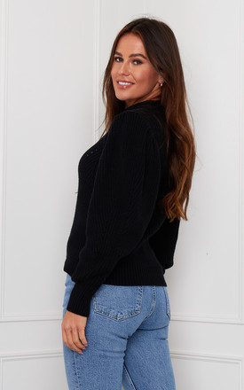 Aaliyah Puff Sleeve Jumper Black by Girl In Mind