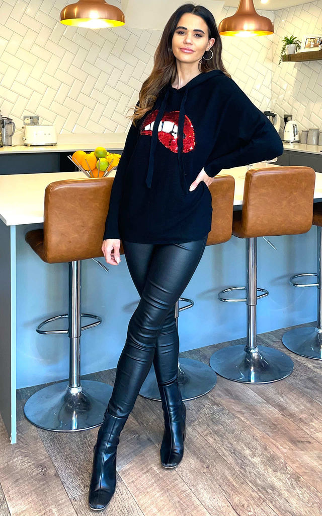 CONSTANCE Lips Hooded Long Sleeve Jumper In Black by Blue Vanilla