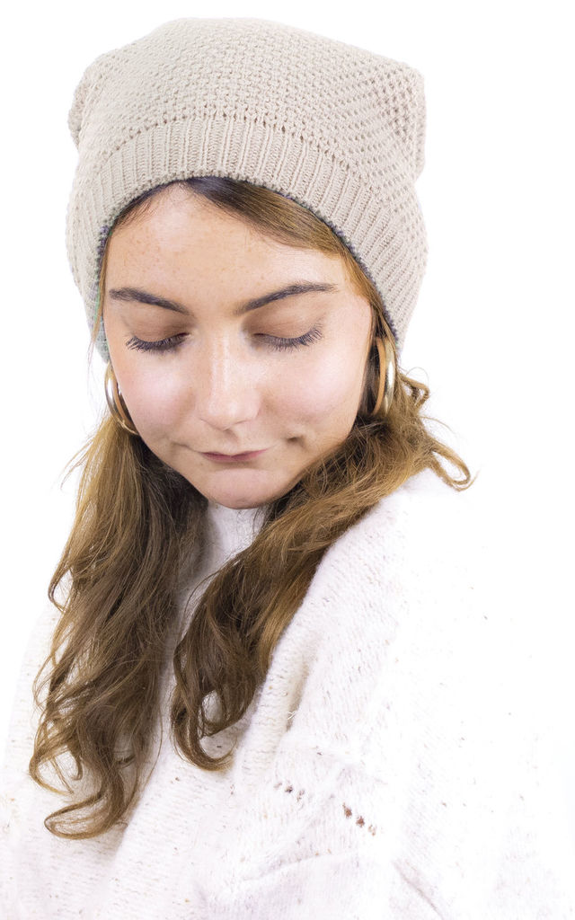 Knitted Maxi Beanie in Cream by ANGELEYE
