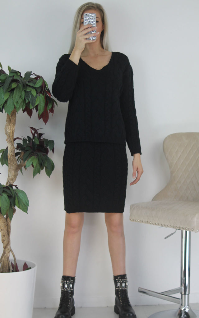 Black Woven Chunky Knitted Jumper & Pencil Skirt Co-ord Set by Boutique Store