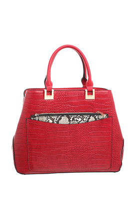 CROC PRINT TOTE WITH SNAKE PRINT FRONT POCKET IN RED by BESSIE LONDON