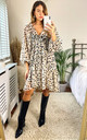 Poppy Blouson sleeve smock dress in lurex animal spot print by Edie b.