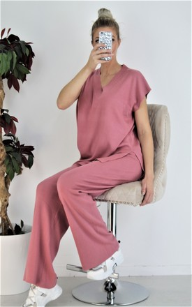 Ribbed Top & Wide Leg Pants Co-ord Set Loungewear (Dark Pink) by Boutique Store