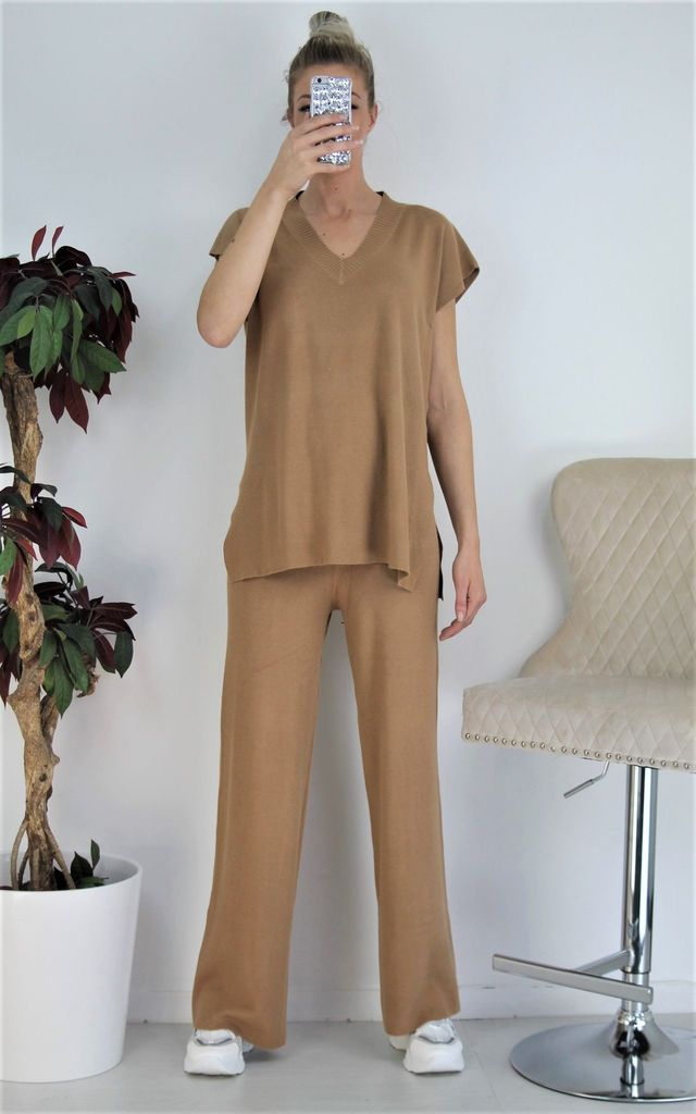 Taupe Ribbed Top & Wide Leg Pants Co-ord Set Loungewear by Boutique Store