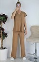 Ribbed Top & Wide Leg Pants Co-ord Set Loungewear (Taupe) by Boutique Store