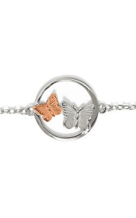 Butterfly Duo Circle Adjustable Bracelet 925 Sterling Silver 18ct Rose Gold Jewellery by Annie Oak