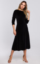 Velvet Midi Dress with Gathered Sleeves in Black by MOE