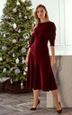 Velvet Midi Dress with Gathered Sleeves in Maroon by MOE