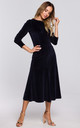 Velvet Midi Dress with Gathered Sleeves in Navy Blue by MOE