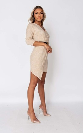 Beige Belted Asymmetric Knitted Mini Dress by Parisian Fashion