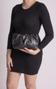 Lauren Black Ruched Clutch Bag by KoKo Couture