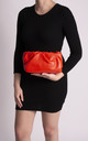 Lauren Orange Ruched Clutch Bag by KoKo Couture