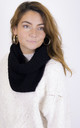 Ribbed Knitted Circle Scarf in Black by ANGELEYE