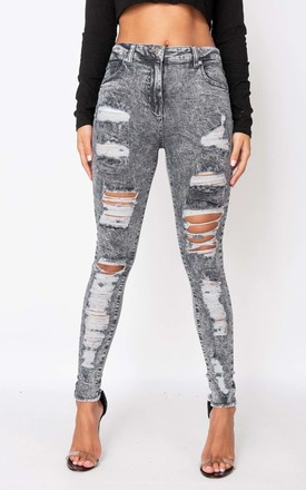 Grey Acid Multi Rip High Waisted Skinny Jeans by Parisian Fashion