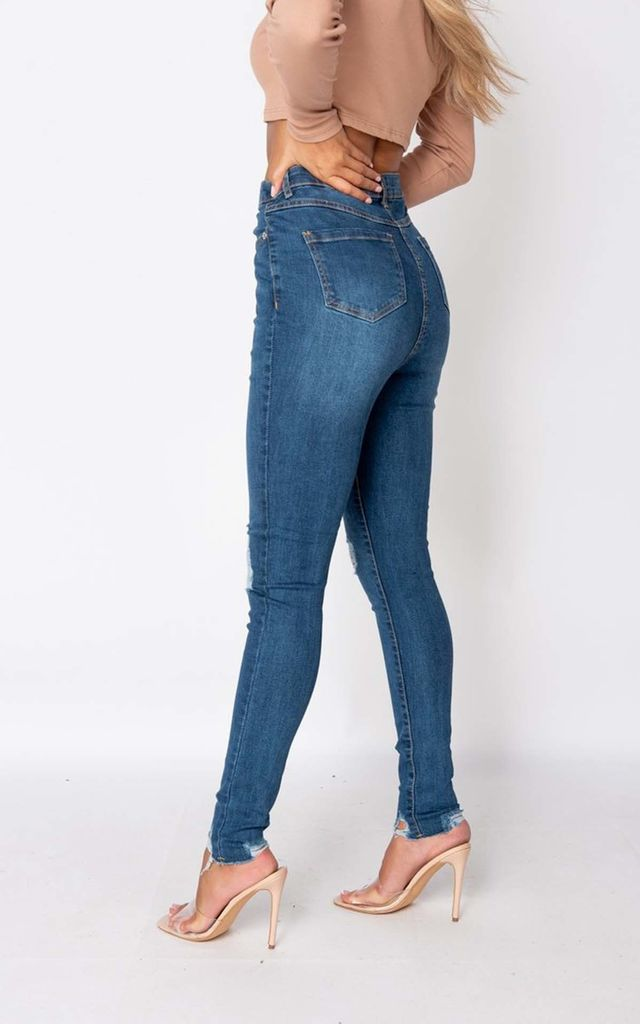 Mid Blue Distressed Knee Skinny Jeans by Parisian Fashion