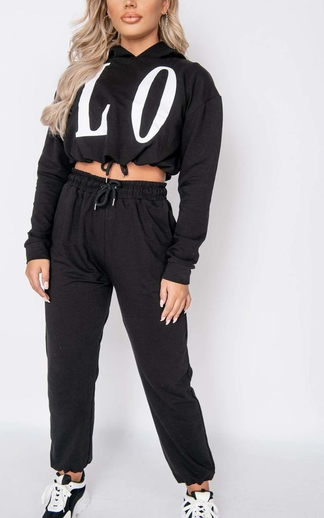 Black Love Hoodie & Jogger Lounge Set by Parisian Fashion