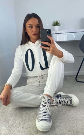 Off White Love Hoodie & Jogger Lounge Set by Parisian Fashion