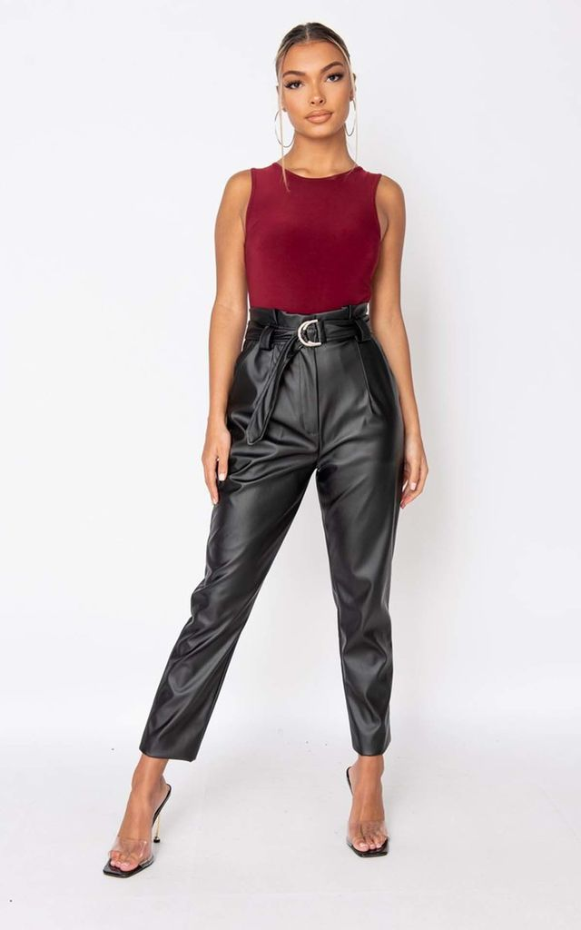 Black Faux Leather Paperbag Waist Trousers by Parisian Fashion