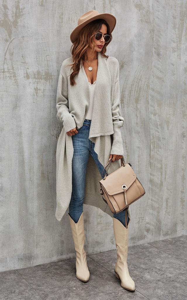 Grey Chunky Pleat Oversized Cardigan by FS Collection