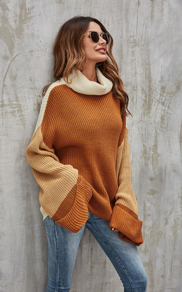 Colour Block Jumper In Beige, Caramel Brown & Cream by FS Collection