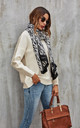 Black Zebra Print Scarf In White by FS Collection