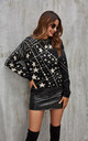 White Saturn Stars Print Wool Jumper In Black by FS Collection