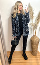 Knitted Long Sleeve Jacket in Black and Blue Tweed Effect by CY Boutique