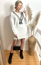White Jumper Dress with Tweed Effect Neckline by CY Boutique