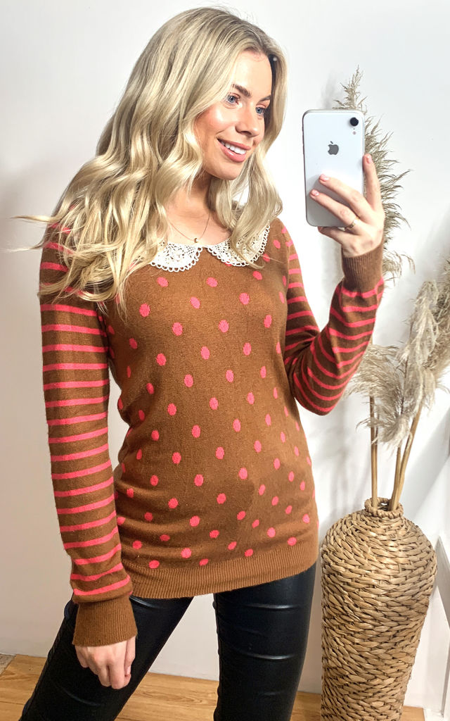 Dot and Strip Print with Crochet Collar Jumper by CY Boutique