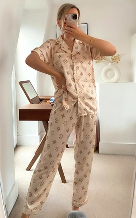 Kendal Printed Pyjama Co-ord in Beige by IKRUSH