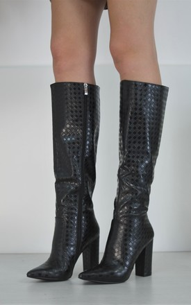 Black Long Knee High Boots Shiny Checkered Design by Boutique Store
