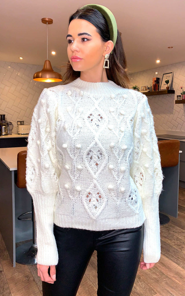 Joanne Puff Sleeve Embroidered Cable Jumper In Ivory by Blue Vanilla