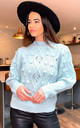Joanne Puff Sleeve Embroidered Cable Jumper In Mint by Blue Vanilla