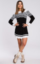 Christmas Sweater Dress in Black by MOE