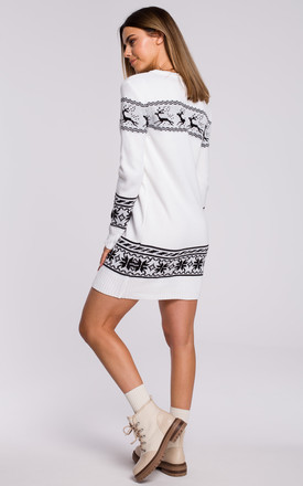 Christmas Sweater Mini Dress in White by MOE