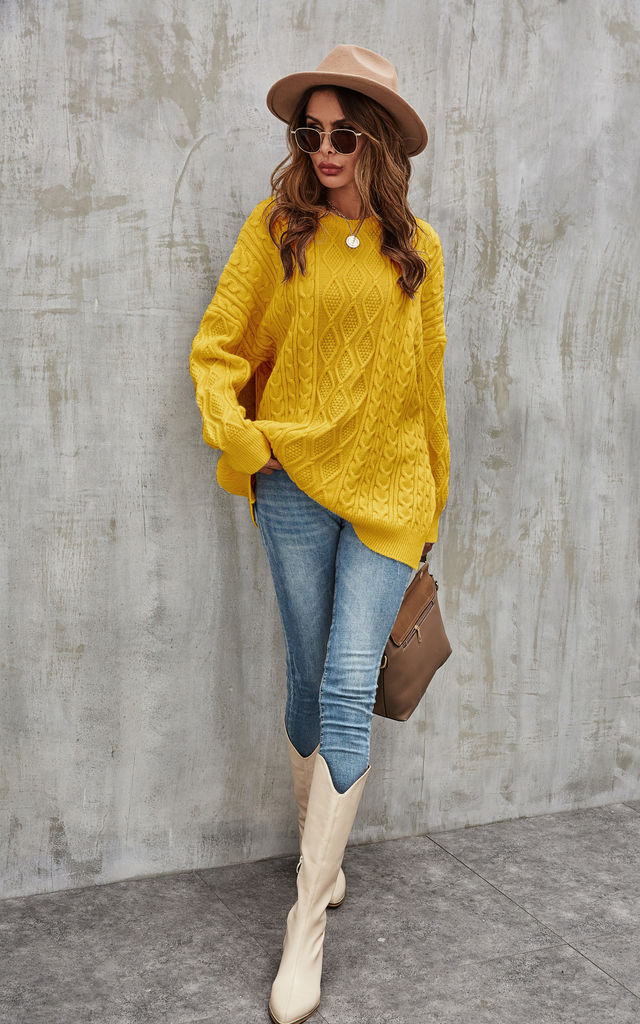 Cable Jumper In Mustard Yellow by FS Collection