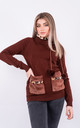 Long sleeve warm jumper with faux fur lined neck (Brown) by Lucy Sparks
