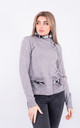 Long sleeve warm jumper with faux fur lined neck (Grey) by Lucy Sparks