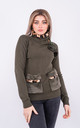 Long sleeve warm jumper with faux fur lined neck (Khaki) by Lucy Sparks