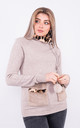 Long sleeve warm jumper with faux fur lined neck (Taupe) by Lucy Sparks