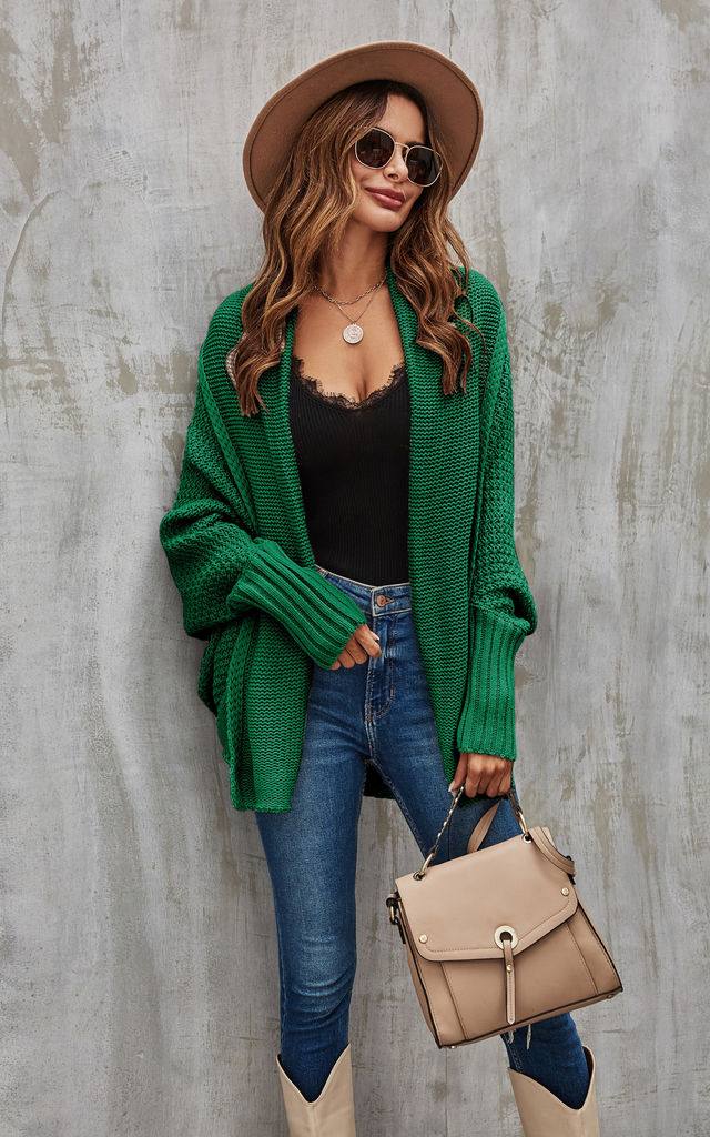 Chunky Pleat Oversized Cardigan In Dark Green by FS Collection