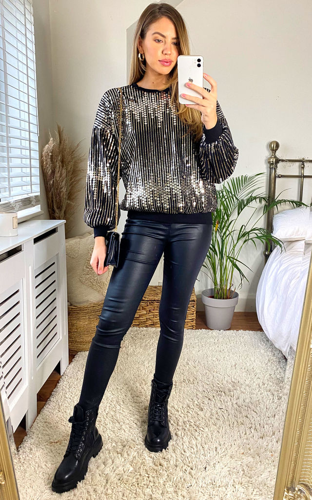 Sequin Sweatshirt in Black by KURT MULLER