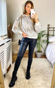 Sequin Sweatshirt in White by KURT MULLER