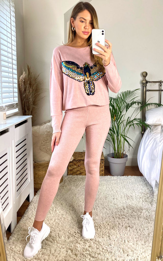 SOFT KNIT LOUNGEWEAR SET WITH WINGS DIAMANTE EMBELLISHED IN PINK by LOES House