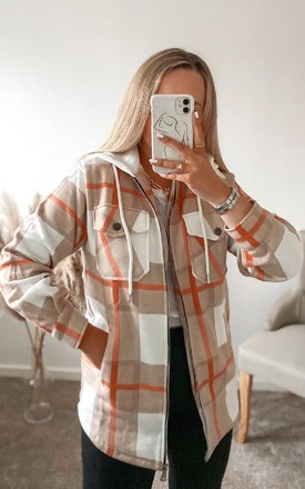 Fliss Checked Hooded Shirt Jacket in Orange by IKRUSH