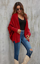 Chunky Pleat Oversized Cardigan In Dark Red by FS Collection
