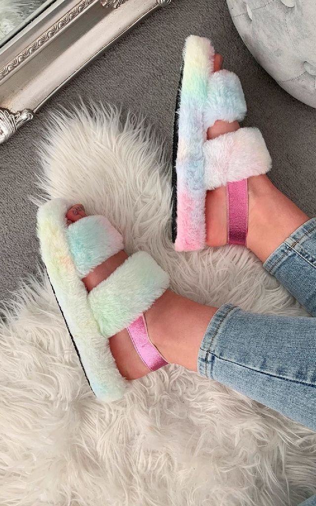 Valerie Faux Fur Slippers by IKRUSH