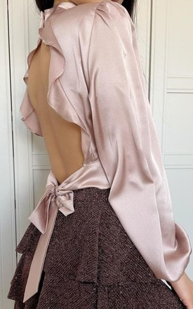 Celine - Dusty Pink Open Back With Tie by Goldie